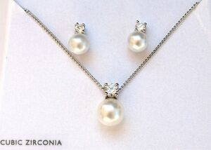 Neu Großhandel Menge 100 Sets Silber Cubic Zirkonia Perle Anhänger Ohrring Cz