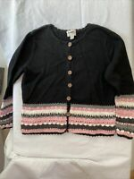 Christopher & Banks Hand Embroidered crochet sweater black pink  Size XL