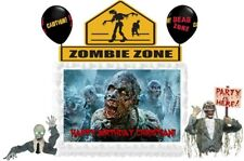 Zombie Walking Dead Personalized Birthday Edible Cake Image Topper Decoration