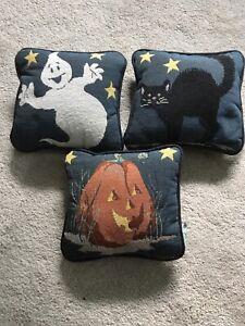 """Set/3 Riverdale Halloween pillows- ghost, black cat, & pumpkin. 8""""x8"""""""