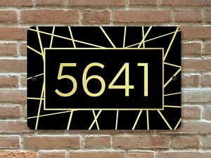 """Customized Home Address Plaque Metal 12"""" x 8"""" Gold or Silver Number House Sign"""