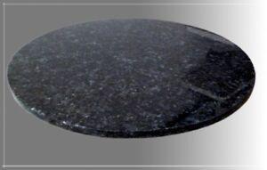 Tischplatte, Granit, Blue Pearl, Rund, 60x2cm, Poliert & Gefast, NEU!