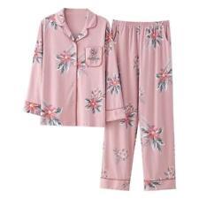 Women's 100% Cotton Long Sleeves Pyjama Set Sleepwear Loungewear Nightwear