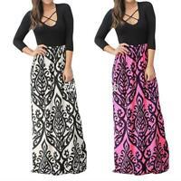 Women Boho Floral Maxi Dress Long Sleeve Casual Evening Party Floor Length Dress