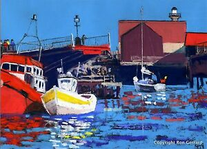 Whitby Harbour Yorkshire Art Print of Seascape original painting by Ron Gerrard