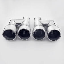 "Pair 2.25"" Inlet SS304 Stainless Steel Exhaust Tips 3.5"" Staggered Out Resonated"