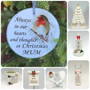 Mum Christmas Memorial Tributes - Xmas Tree Robin Bauble Candle Book Plaque