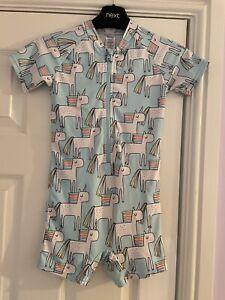 Girls Unicorn UV Sun Safe Swimsuit From Next, age 4-5 years