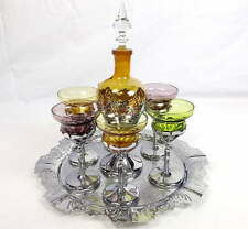 Cambridge/Farber Bros Krome Kraft Decanter, Tray, 6 Cocktail Glasses Amber,Green