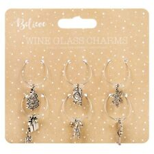 Set di 6 Christmas wine glass charms decorazione tavola di Natale Stocking Filler