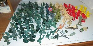 """Vintage Lot 2"""" +/- Plastic BMC Toys & Misc China 135+ Soldiers Cowboy Indian"""