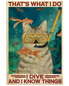Cat Scuba Diving I Dive And I Know Things Gaming Playroom Wall Art Poster