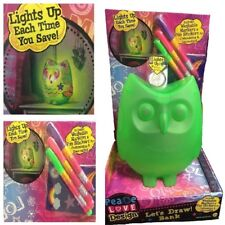 Children's Draw Your Own OWL Bank Money Box with lights up