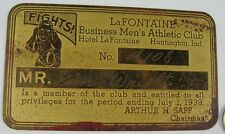 1939 Brass Card LaFontaine Business Men's Athletic Club Boxer Jim Wright
