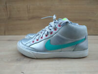 Nike Capri 3 Mid Girls Trainers Silver Leather size UK 4 eu 36.5 Hi tops