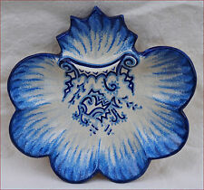 Vintage French Majolica Scaloped Oyster Plate Fouillen Fish Quimper