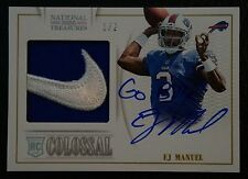 EJ MANUEL NATIONAL TREASURES COLOSSAL ROOKIE AUTOGRAPHED & JERSEY PATCH CARD 1/2
