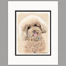 Poodle Toy Miniature Dog Original Art Print 8x10 Matted to 11x14
