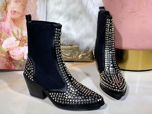 NEW WOMENS LADIES ANKLE BIKER BOOTS MID HEEL STUDDED WINTER FASHION SHOES UK