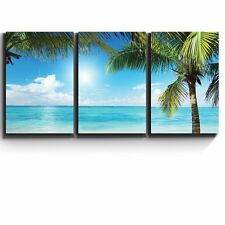 "3 Piece Canvas- Tropical blue waters framed by Palms - Giclee Artwork -16""x24""x3"