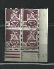 ALGERIE  LUXE  N°  175   BLOC  DE  4 COIN  DATE  10/12//42  CONSTANE   NEUFS **