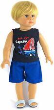 Boy Navy Sailing Shirt & Blue Shorts fits 18 inch American Girl Doll Clothes