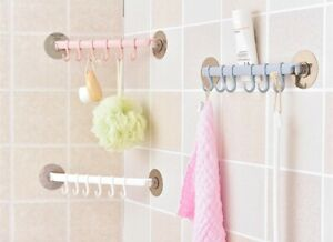 Plastic Storage Rack Suction Cup Hanger Organizer Clothes Towel Hook Tool Shelf