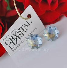 925 Sterling Silver Stud Earrings Crystals From Swarovski® JELLY FISH Blue Shade
