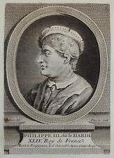 Gravure Antique print Portrait Philippe III dit Le Hardi Roy de France Pinssio