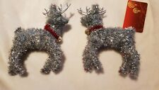 2 SILVER TINSEL REINDEER'S, CHRISTMAS, BIRTHDAY, PROM TABLES.