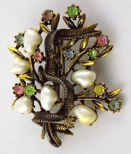 Vintage Coro Dark Copper Tone Metal Faux Pearl and Rhinestone Floral Brooch Pin