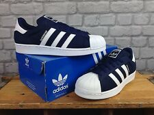 ADIDAS MENS UK 8 EU 42 NAVY BLUE WHITE WEAVE SUPERSTAR TRAINERS
