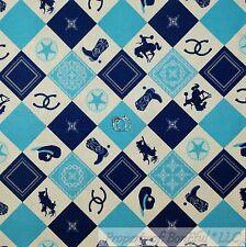 BonEful Fabric Cotton Quilt Navy Blue Aqua Cowboy Star Horse Shoe Block NR SCRAP