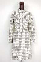 VTG Veneziano Knit Cotton 2 Piece Jacket Skirt Suit 10 Cream Brown Triangle