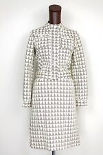 VTG Veneziano Knit Cotton 2 Piece Jacket Skirt Suit 10 Cream Brown Triangle