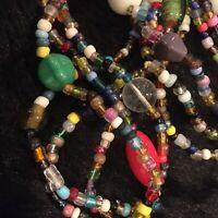 "3 Strands 27"" Mardi Gras Glass Beads - Multicolored- Traditional - Beautiful - F"