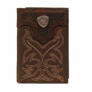 Ariat Mens Brown Boot Leather Tri-fold Wallet A3511002