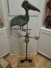 "Vintage Copper Pelican Weathervane roof Art Double Sided w directional 53 ½"" T"