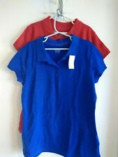 Old Navy Nwt girls uniform polo lot of 2 size L 10- 12 red blue short sleeve