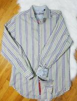 Robert Graham Purple wMulti-Color Striped Men's Dress Shirt Size Large Pre-Owned