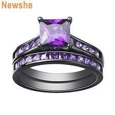Princess Cz Black Plated Sz 5-12 Newshe Wedding Engagement Ring Set 1.8ct Purple