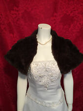 Brown Faux Fur Stole Shrug Bolero Wrap Bridal XS-XXL