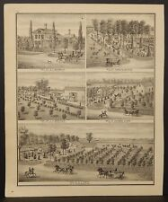 Wisconsin Walworth County Map Res. Francis Baker Engravings 1873 Dbl Side J22#57