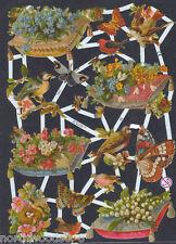 BUTTERFLY BIRDS FLORAL SPRING NEST ART SCRAP EF GERMAN