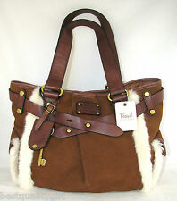 NEW FOSSIL ADRINA TAN,SADDLE BROWN GENUINE LEATHER+FAUX FUR TOTE HAND BAG