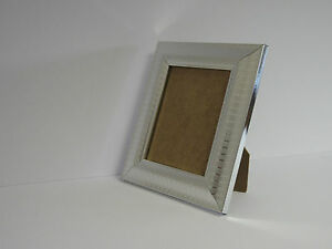 Two Tone Silver 4x6 Picture Photo Frame hang Stand