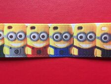 MINIONS Grosgrain RIBBON 1Mtr X 22mm For Craft Hair Gifts Cakes