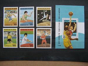 BENIN, stamps MNH 1996, set + S/S Olymphilex, baseball soccer tennis basketball