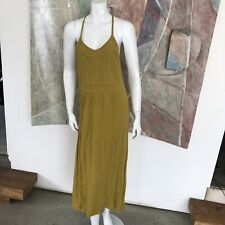Forever 21 Embroidered Mustard Yellow Midi Racerback Boho Dress A14 SZ Small