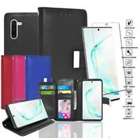 Glass Screen Protector+Double Flap Leather Wallet Case For Samsung Galaxy Note10